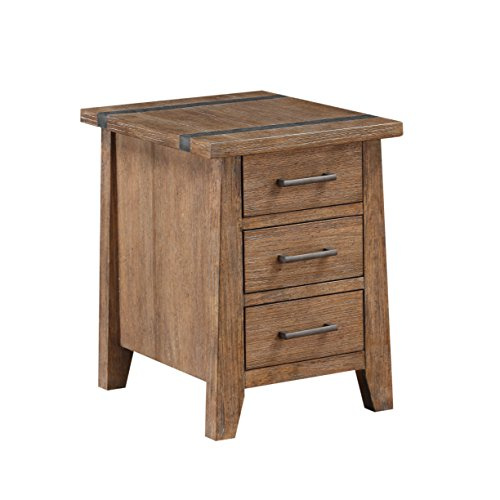 Emerald Home Viewpoint Driftwood Gray End Table with Three Drawers And Metal Detailing