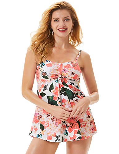 Women 2 Piece Butterfly Printed Tank Top with Boyshorts Bottoms Tankini Set Bathing Suits