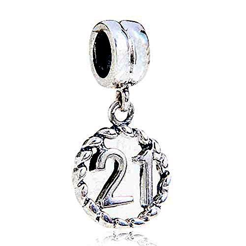 Milestones Number 21 Dangle Charm Sterling Silver 21st Birthday Bead for Women Charm Bracelet (21)