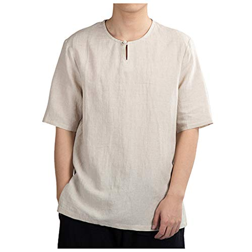LUCAMORE Men's Solid Casual Cotton Linen T-Shirts Short Sleeve O-Neck Frog Tops Shirts Khaki