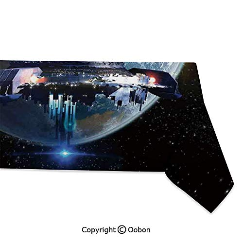Space Decorations Tablecloth, Alien Ship Fleet Close to Earth Invasion of World Outer Space Galaxy Artwork, Rectangular Table Cover for Dining Room Kitchen, W60xL120 inch