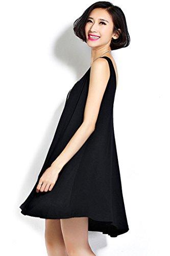 Azbro Vestido Mini Sólido Negro Sin Manga Black