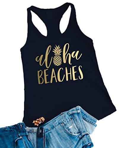 Aloha Beaches Tank Tops Vacation Bachelorette Party Funny Pineapple Letter Print Vest Hawaiian Shirt for Women Size L - Aloha Tank
