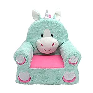 Animal Adventure | Sweet Seats | Teal Unicorn Children's Plush Chair, Larger :14″ x 19″ x 20″