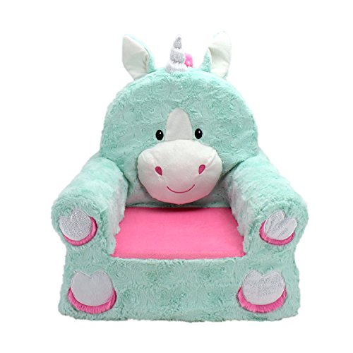(Animal Adventure Sweet Seats | Teal Unicorn Children's Chair | Large Size | Machine Washable Cover)