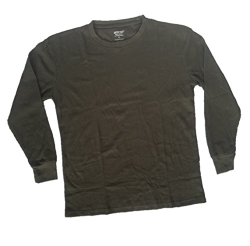 Architect Jean Company Men's Long Sleeve Thermal Crew Knit Shirt, Military Olive, XL