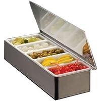 American Metalcraft CD5 - Soporte para condimentos, acero inoxidable, 5 compartimentos