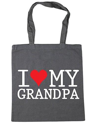 HippoWarehouse I Love My Grandpa Tote Shopping Gym Beach Bag 42cm x38cm, 10 litres