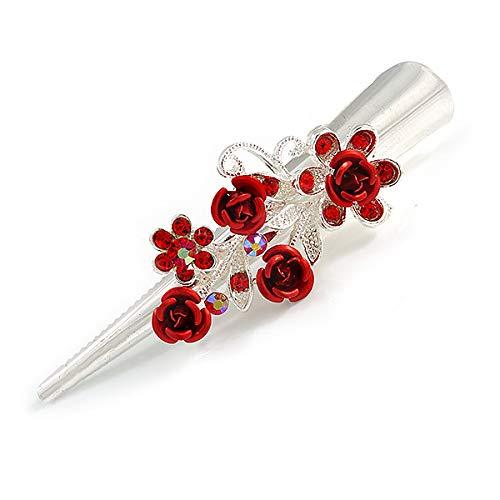 florale de Rose Cheveux Pince bec//Concord//Pince crocodile en argent/é/ /75/mm L Medium Cristal Rouge