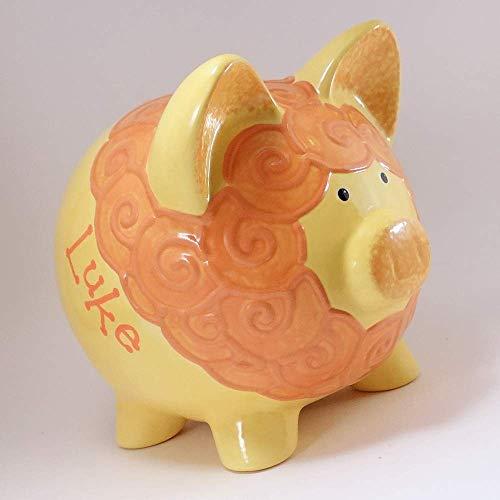 Yellow Lion Personalized Piggy Bank Ceramic Zoo Decor ()