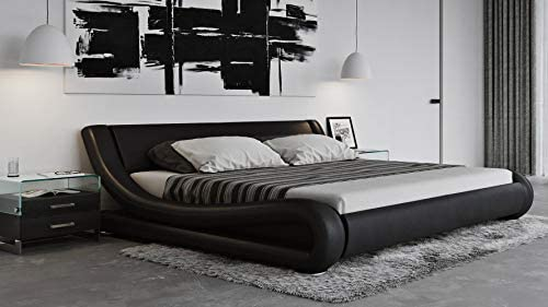 Zuri Furniture Modern Marlo Black Genuine Leather King Size Platform Bed