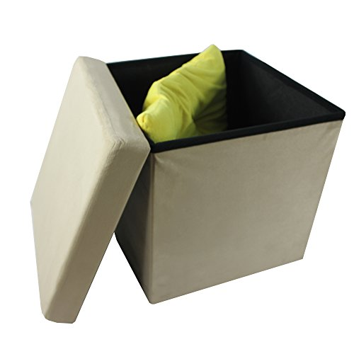 Achim Home Furnishings OTSD15CA04 Collapsible Storage Ottoman, Camel Suede, 15