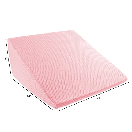 Extra High Wedge Pillow-Memory Foam Pillow with Bamboo Fiber Cover-Great for Acid Reflux, Snoring, Back Pain and Better Sleep by Lavish Home (Pink)