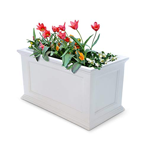 W Patio Planter, 20-Inch by 36-Inch, White ()