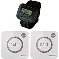 SINGCALL Wireless Calling System,Calling System for Cafe Restaurant Hotel Bank,Call Staff,Pack of 2 Pagers and 1 Watch
