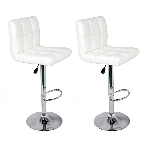 Design White Leather (Set of 2 Barstools Adjustable Swivel Faux Leather Square Stitch Design White Color by Legacy Decor)