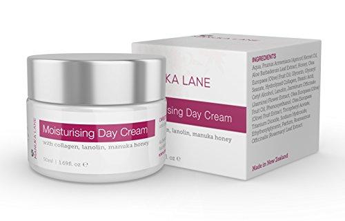 Luxury Moisturizing Day Cream by Manuka Lane. The Ultimate Skin Moisturizer with real New Zealand Manuka Honey, Hydrolyzed Collagen, and skin-enriching Lanolin