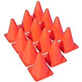 """Multipurpose 7"""" Sports Training Cones (Set of 12) Soft and Durable Orange Traffic Cones - Ideal Equipment for Soccer, Football, Basketball, Other Sports and Activities"""