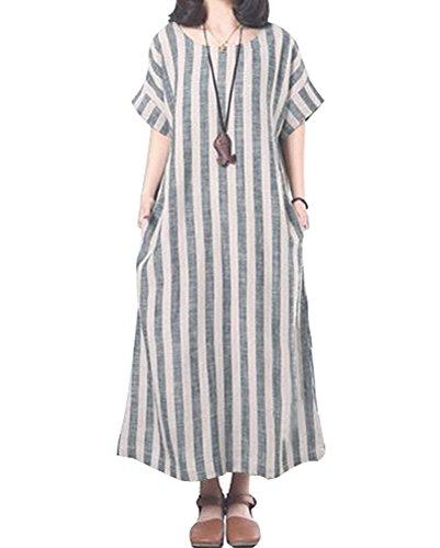 YOUBENGA Women's Plus Size Vertical Stripe Loose Cotton Linen Maxi Kaftan Dress L Gray