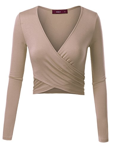 Doublju Deep V-Neck Fitted Surplice Wrap Crop Top for Women with Plus Size