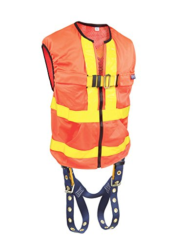 3M DBI-SALA 1107404 Delta Universal Reflective Orange Workvest Harness with Back D-Ring and Tongue Buckle Leg Straps, Yellow by 3M Fall Protection Business