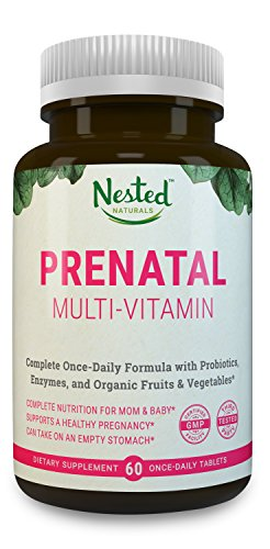 PRENATAL MULTIVITAMIN Tablets   60 Day Supply   With Manganese, 400 mcg L-Methylfolate, Folic Acid, Probiotics, Organic Superfoods, Enzymes, and Choline   All Natural Pregnancy Vitamins for Women