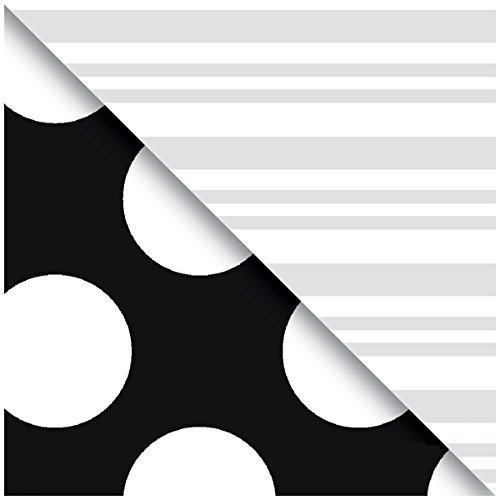 - Jillson Roberts 6 Roll-Count Double-Sided Gift Wrap Available in 12 Color Combos, Black and Silver Stripes/Dots
