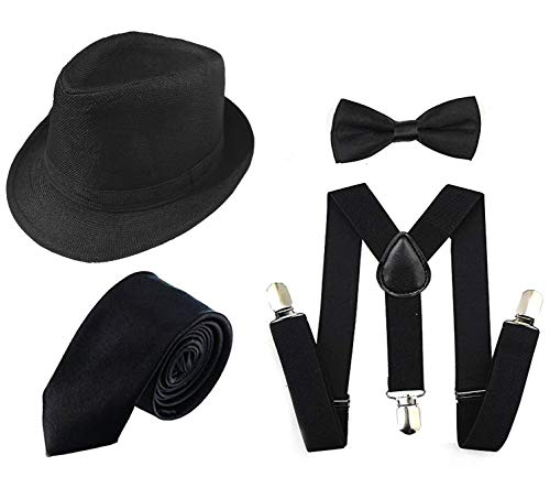 Roaring 20s Fashion Men - 1920s Men Accessory Set Manhattan Hat,
