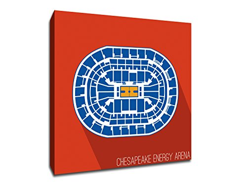 Oklahoma City   Chesapeake Energy Arena   Basketball Seating Map   12X12 Gallery Wrapped Canvas Wall Art