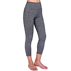 Daisity Women's Yoga Capris - Gym Activewear Slim Spandex Tights - Hidden Pocket Color Grey Size M