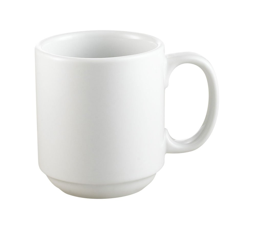 CAC China PRM-12-P 12-Ounce Porcelain Round Stacking Mug, 3-1/4 by 3-5/8-Inch, Super White, Box of 36