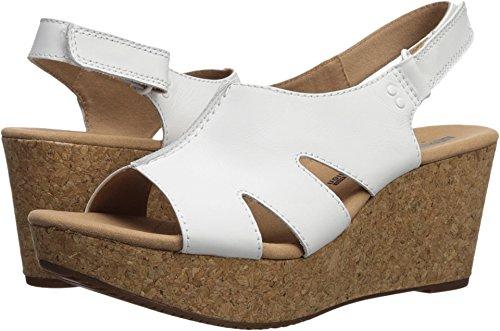 (Clarks Women's Annadel Bari Platform, white leather, 8.5 Medium US)