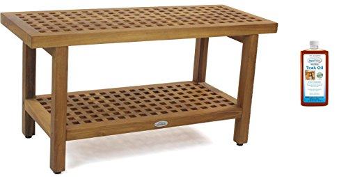The Original 36' Grate Teak Shower Bench with Shelf