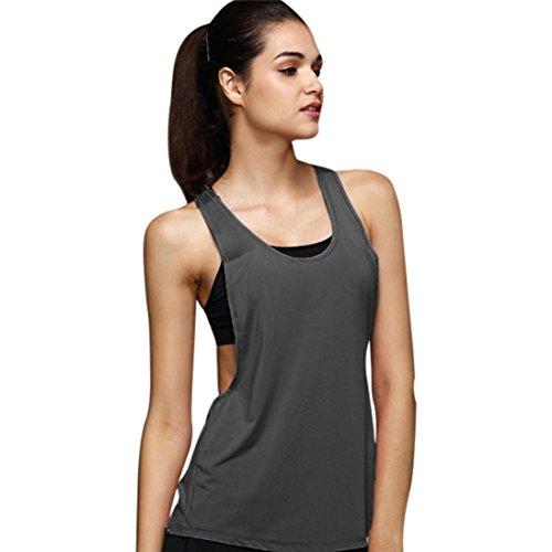 Leedford Women Tank Tops, Women's Yoga Shirt Sleeveless Racerback Workout Active Tank Top Vest Top Blouse (S, Dark Gray)