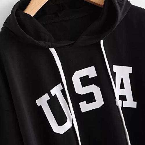 Noir Blouse de Capuche Longues Lettre Sweat Imprim Manches Femme Sweatshirt Sport Bringbring W7BqwPCnf