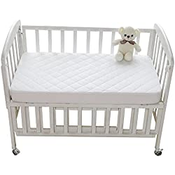 """Mini Crib Mattress Pad Cover Waterproof Fitted Quilted Mattress Protector Hypoallergenic & Soft Fitted Baby Play Yard Size 27"""" x 39"""" by YOOFOSS"""