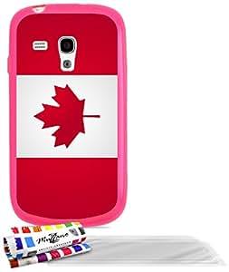 """Carcasa Flexible Ultra-Slim SAMSUNG I8190 de exclusivo motivo [Bandera Canada] [Rosa] de MUZZANO  + 3 Pelliculas de Pantalla """"UltraClear"""" + ESTILETE y PAÑO MUZZANO REGALADOS - La Protección Antigolpes ULTIMA, ELEGANTE Y DURADERA para su SAMSUNG I8190"""