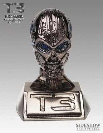 Sideshow Terminator - Terminator 3 - TX Head Endoskull - Chromed Polystone Mini Collectible