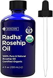 Radha Beauty USDA Certified Organic Rosehip Oil, 100% Pure Cold Pressed - Great Carrier Oil for Moisturizing F