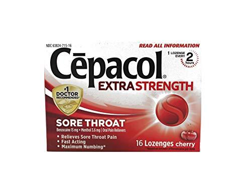 Cepacol Maximum Strength Throat Drop Lozenges, Cherry, 16 Count (Pack of 5)