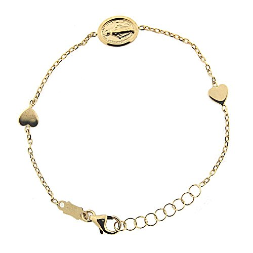 18 K Yellow Gold Two Small Hearts with center Miraculous Medal 5.50 inches Bracelet with extra rings by Amalia