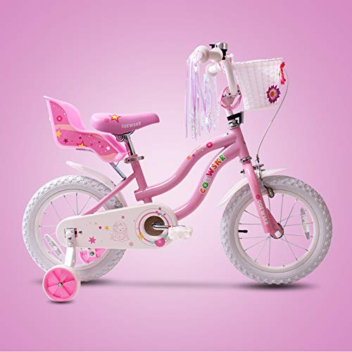 SENQI Little Girl's Bike with Streamers Little Princess Sticker Kids Bicycle with Training Wheels (14 inch Pink)