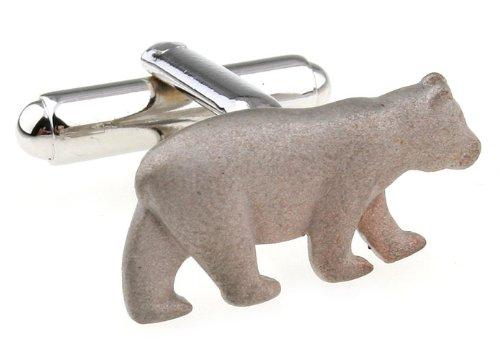 - Silver Brushed Finish Animal Bear Cufflinks Cuff links