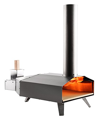 Ooni 3 Portable Wood Pellet Pizza Oven W/ Stone and Peel, Stainless Steel