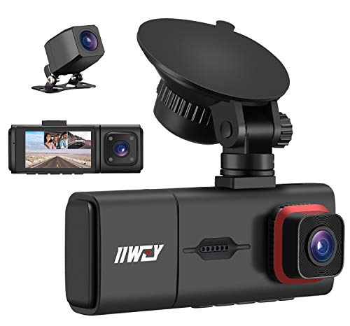 3 Channel Dash Cam with IR Night Vision, IIWEY Full HD 1080P Front Inside Rear Three Way Dash Camera for Cars, 2.45 Inch IPS Screen, Support 128G, 24H Parking Monitor, Motion Detection for Taxi Driver