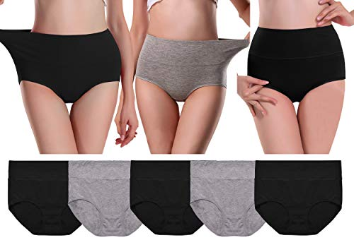 - UMMISS Brief for Women, Cotton Solid Stretch High Waist Full Coverage Underwear Panties,Multi,S