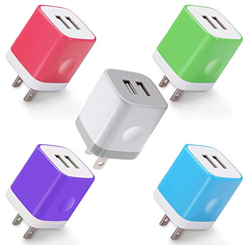 (Power-7 USB Wall Charger, 5-Pack 2.1A Dual Port USB Charger Plug Power Adapter Charging Block Cube for Phone Xs Max Xs XR X 8 7 6S 6 Plus 5S, Pad, Samsung Galaxy S8 S7 S6 Edge, LG, Moto, Android Phone)