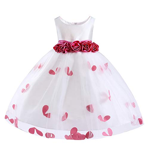 Easter Day Girls Tutu Bow Dress Flower Petals Princess Dress with 3D Roses for Birthday Wedding Party (6/7, Red)