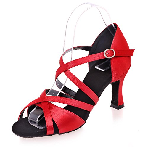 L@YC Frauen Latin Dance Silk Sandalen Mit Einem Kompletten Einzigartigen Indoor Buckle Mode / Multicolor Red