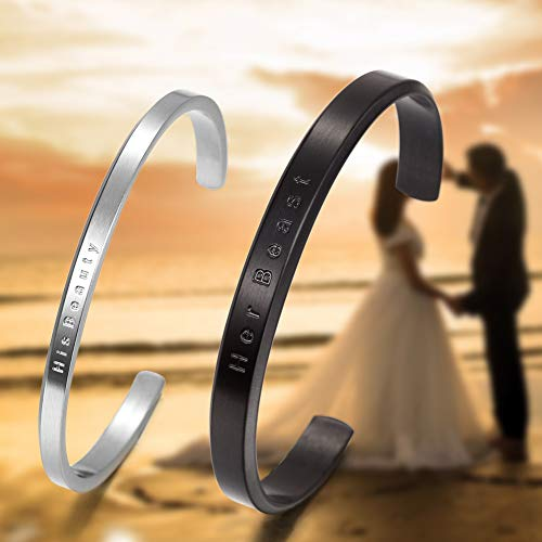 Stainless Steel Gold Plated Adjustable His and Her Matching Set Cuff Bracelet for Couple (NSB1391STCP Free Engraving) by Wistic (Image #4)